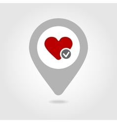 Heart map pin icon vector