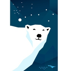 Polar bear with constellation ursa minor vector