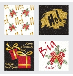 Holiday cards collection with golden glitter vector