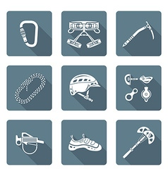 White monochrome various alpinism tools icons vector