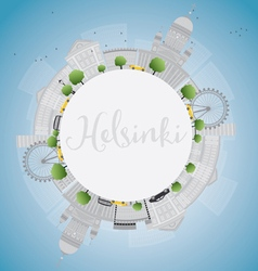 Helsinki skyline with grey buildings vector