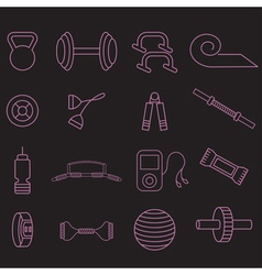 Line craft icons set of fitness theme vector