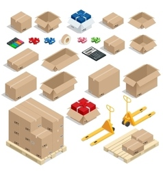 Cardboard boxes set opened or closed sealed with vector