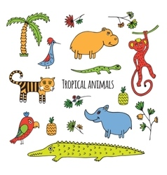 Tropical animals sketch vector