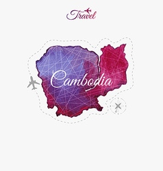 Travel around the world cambodia watercolor map vector