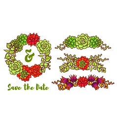 Succulent wreath vector