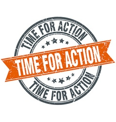 Time for action round orange grungy vintage vector