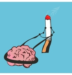 Smoke cigarettes control brain addiction vector