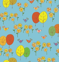 Abstract seamless autumn pattern with birds trees vector image vector image