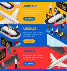 airport zone luggage transit banner horizontal set vector image