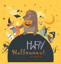 animals celebrating halloween vector image vector image