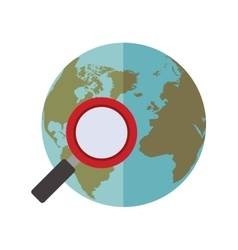 Blue sphere world with magnifying glass vector