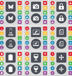 Butterfly camera lock smartphone laptop text file vector