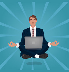 Calm businessman hovers in air in lotus pose vector