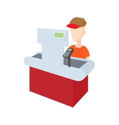 Cashier behind cash register icon cartoon style vector