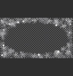 christmas frame of translucent snowflakes in the vector image vector image