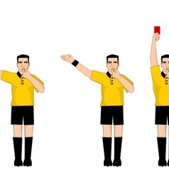 Collection of football referee gestures vector image