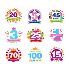 Colorful anniversary birthdays festive signs set vector