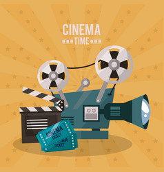 colorful poster of cinema time with movie film vector image
