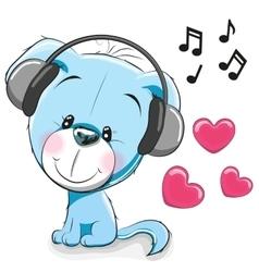 Dog with headphones vector