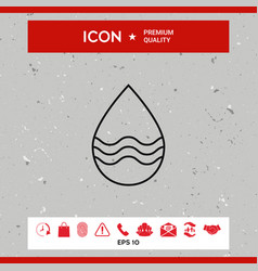 drop line icon with waves vector image vector image