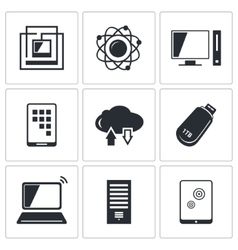 Exchange of information technology icon collection vector image vector image