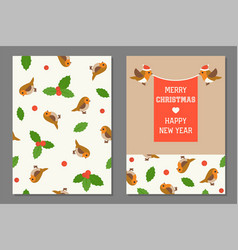 Flying robin bird with red flag for christmas and vector