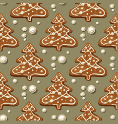 Gingerbread christmas tree pattern vector