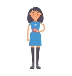 Girl holding credit card vector image
