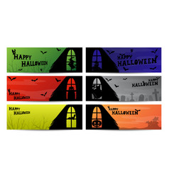 halloween window silhouette banner vector image