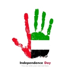 Handprint with the flag of united arab emirates in vector
