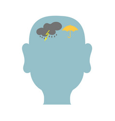 mans head outline with storm inside vector image vector image