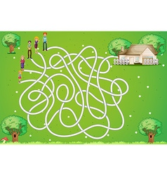 Maze game with family and house vector image