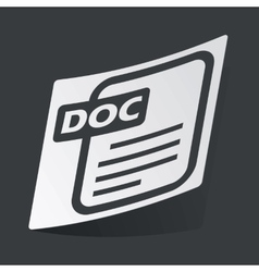 Monochrome DOC file sticker vector image