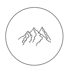 Mountain range icon in outline style isolated on vector