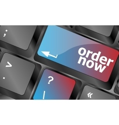 Order now computer key showing online purchases vector
