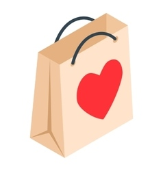 Paper shopping bag with heart isometric 3d icon vector image