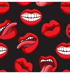 Pop art style mouth seamless pattern vector image