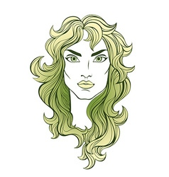 portrait of green long haired girl isolated on vector image