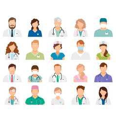 Professional doctor avatars vector