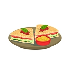 Quesadilla Cut Sandwich Traditional Mexican vector image