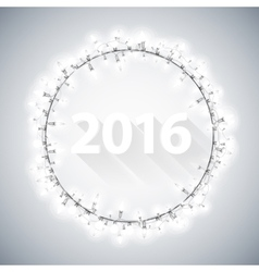 Simple 3D 2016 with Christmas Lights vector image vector image