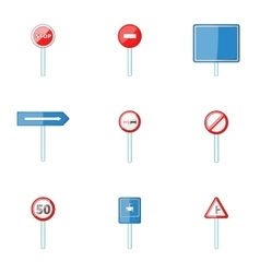 Traffic sign icons set cartoon style vector image