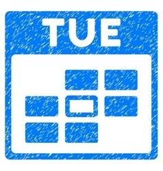 Tuesday calendar grid grainy texture icon vector