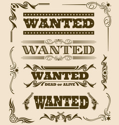 Vintage wanted dead or alive western poster vector