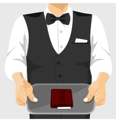 waiter holding a tray with a check on it vector image