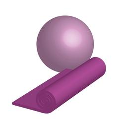 Yoga mat ang ball vector