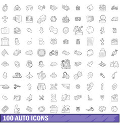 100 auto icons set outline style vector