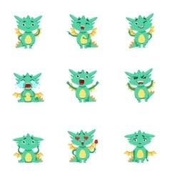 Little Dragon Cute Emoji Set vector image