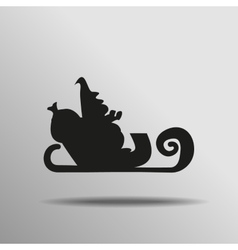 Black santa claus on sleigh icon button logo vector